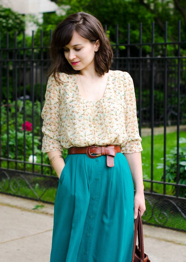 Blue midi skirt with brown belt