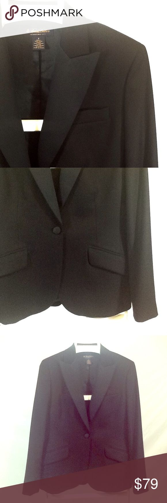 Brooks Brothers women's tuxedo jacket Like new condition. Fully lined. Black twill texture 100% wool. Peaked  lapels and covered buttons are satin. Breast pocket, single button close, curved front hem, flap pockets, shaping at waist, four button cuffs. Impeccable tailoring, perfect for holidays! Brooks Brothers Jackets & Coats Blazers