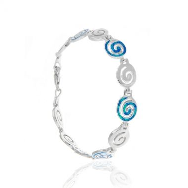 Sterling silver bracelet featuring eleven same size Circles of Life, six in sterling silver and five with blue opal inlay. Symbol of the eternity of all things in the universe and the cyclical nature of life in ancient Greek times, this elegant 925 silver bracelet will complement any attire. The polished sterling silver and the shimmer of the blue inlay catches the light and emits a variety of colours.