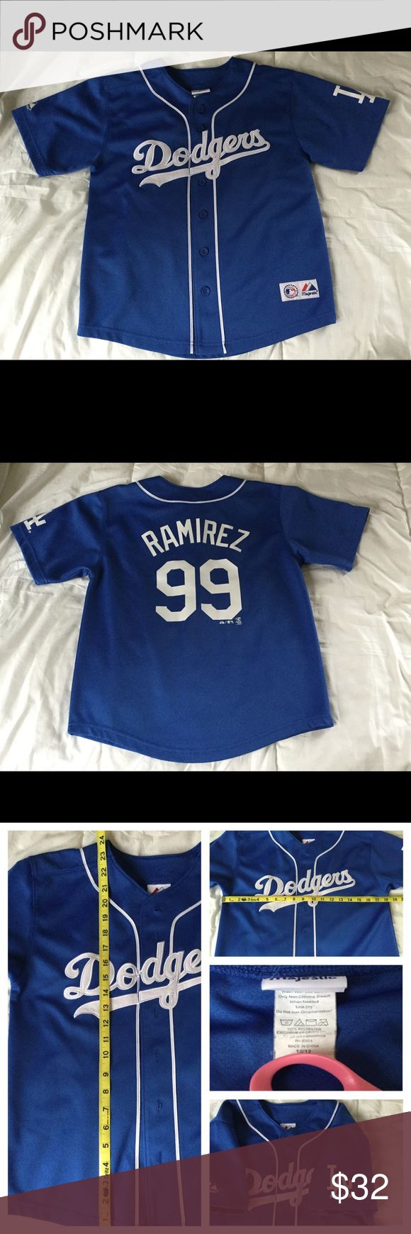 Boys Dodgers jersey shirt Boys baseball jersey in excellent used condition. No stains or tears. Size is boys 10/12 Majestic Shirts & Tops Tees - Short Sleeve
