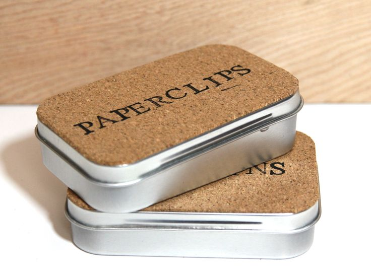 Use & label Altoids tins for organizing small things - this one uses adhesive cork (I like the look)