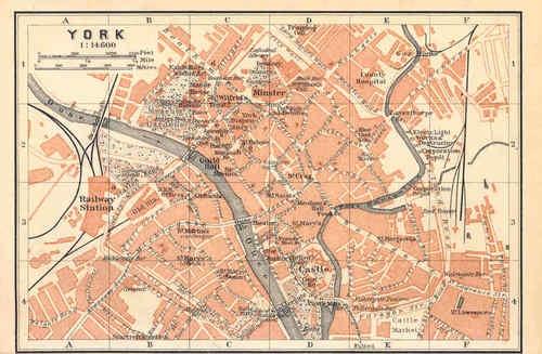 Yorks Yorkshire York Old Vintage City Map Plan 1910 | eBay