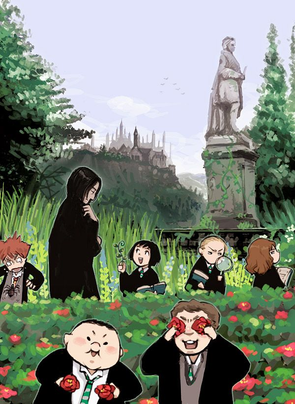 Ron Weasley, Severus Snape, Pansy Parkinson, Draco Malfoy, Hermione Granger, Crabbe, and Goyle #harrypotter #fanart