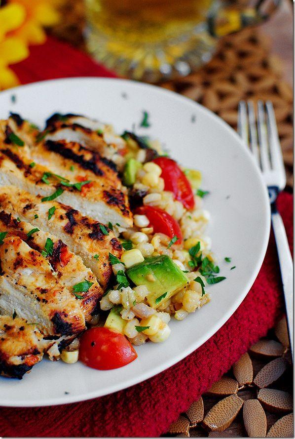Grilled tomato vinaigrette chicken, with corn salad: Chicken Recipes, Chicken Salad, Mom Barley, Grilled Marines, Barley Corn, Corn Salads, Marines Chicken, Grilled Chicken, Barley Salad