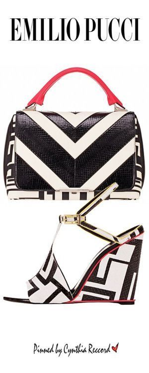 Pucci Black and white designer Handbag and shoes #pucci #bags #shoes. Shared by Career Path Design.