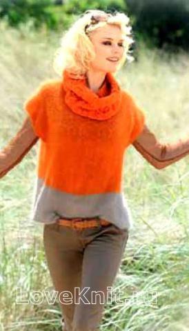 Спицами двухцветный джемпер без рукавов и шарф-воротник фото к описанию