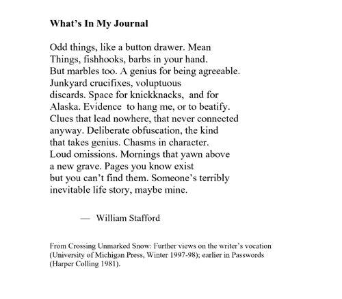 william stafford essay a way of writing A way of writing by william stafford  robert frost and william stafford essay example for free  david reads the way it is, by william stafford who are you.