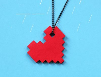 DIY: Last minute Pixel heart necklace V-day gift. All you need is $.50 for paper and glue.