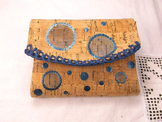 Cork Coin Purse, coin purse, blue purse, cork purse