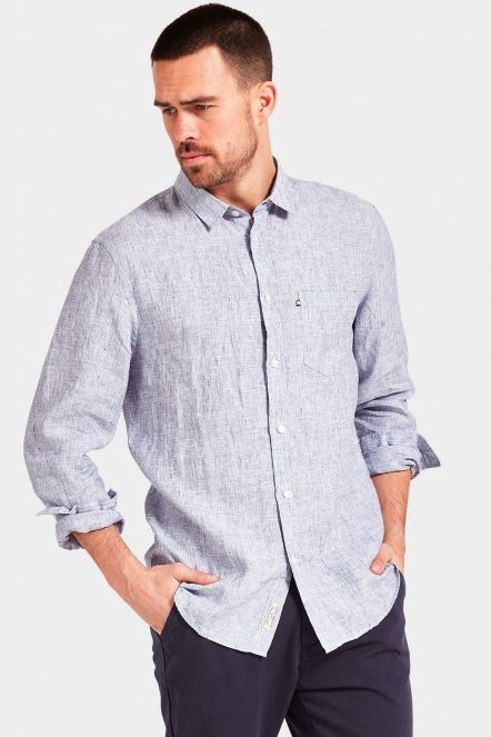 The Academy Brand - Springs Linen L/S Shirt - Navy