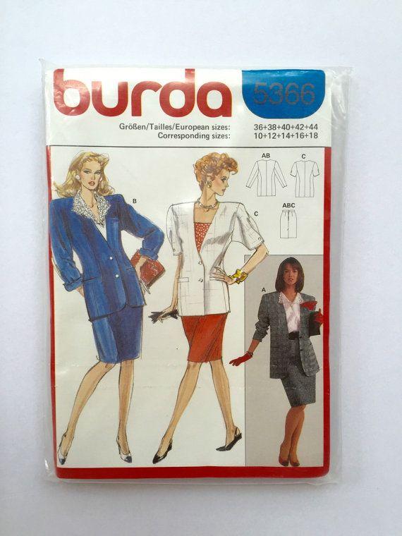 80s suit sewing pattern, 80s jacket pattern, 80s skirt, Burda 5366 business suit pattern, vintage sewing pattern, German Sewing Pattern