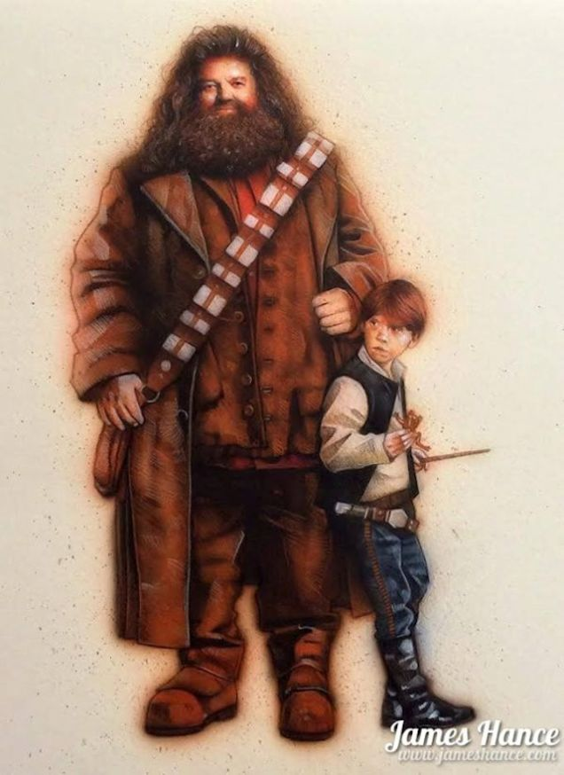 Star Wars: Harry Potter by Janes Hance - Ron Solo Thinks You Should Let The Hagrid Win