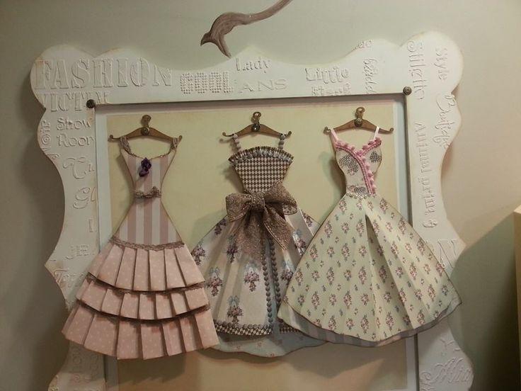 Set of 3 framed paper dress'.