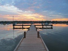 Lake, Dock, Sunset, Serene, Boats, Pier