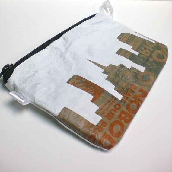 grocery bags - fused into a clutch. Lovely.