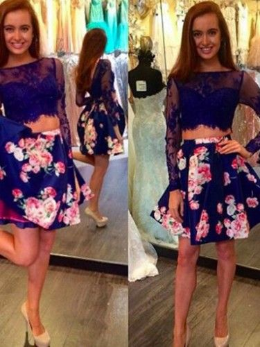 Up to 70% Off Royal Blue Floral with Lace Sexy Two Piece Prom Homecoming Birthday Party Dress  At D-daydress.com!