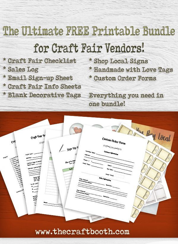 Printable craft show checklist – Never forget anything again! Email sign-up sheet  Custom order form.  Sales log sheet – easily track your earnings for every show. Event sheet – helps you track your events, payments, notes, special instructions and more for every show! Handmade with love tags Shop local sign 3 sets of designer blank tags you can stamp or use for pricing.