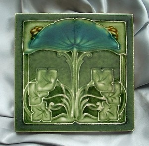 Fabulous and Rare Design Art Nouveau Tile