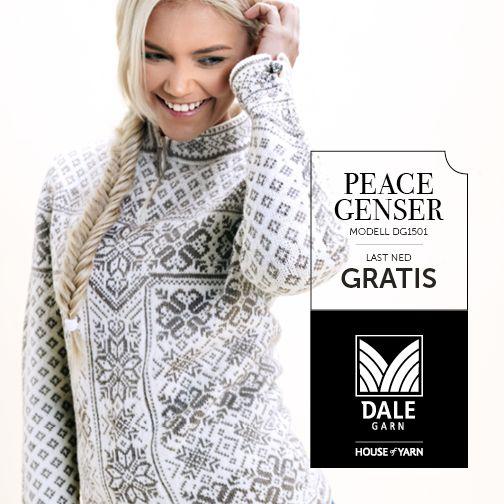 Oppskrift på Peace-genseren fra Dale   Download pattern for free: http://dalegarn.no/oppskrift/peace-genser-nr-1501/