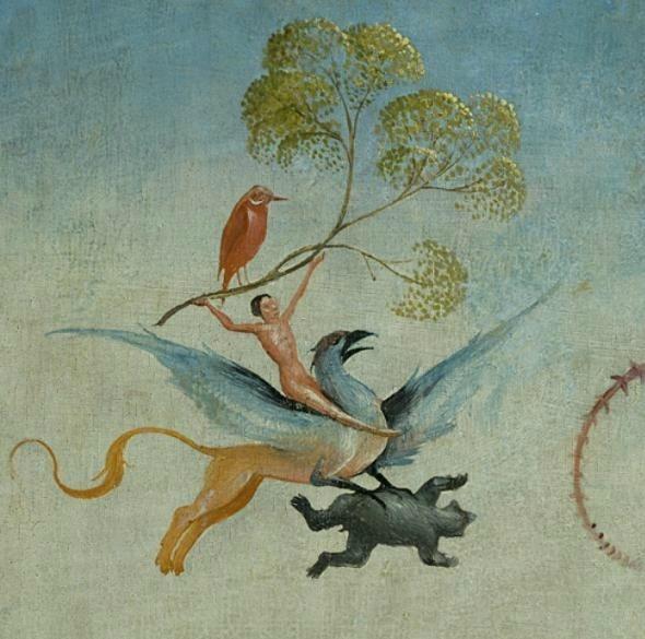 Gardien de l'or et des trésors de la terre, le Griffon tire les chars de l'Olympe dans les airs... zimzimcarillon.canalblog.com | Jheronimus Bosch - The Garden of Earthly Delights (detail).
