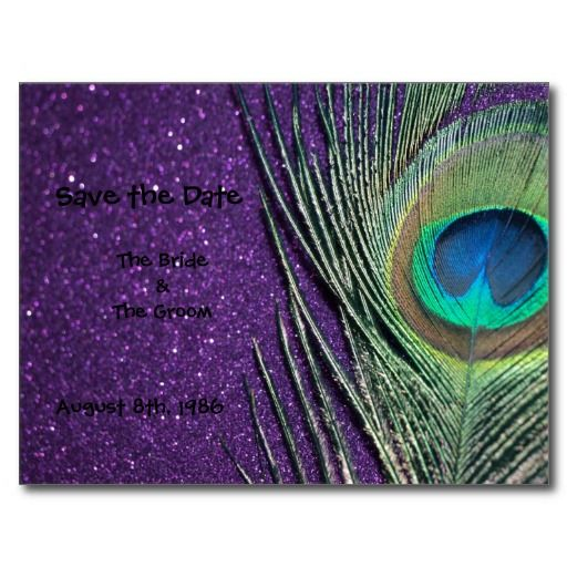Glittery Purple Peacock Save the Date Postcard.  The elegant peacock bird feather has the perfect shades of blue and green.