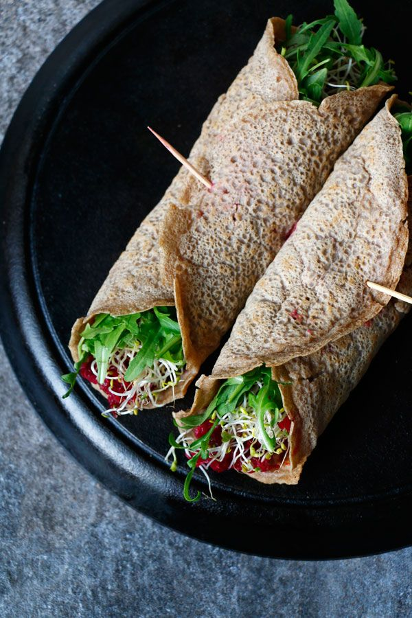 Buckwheat Teff Wraps with Beetroot Dip (gluten-free & vegan) - Nirvana Cakery