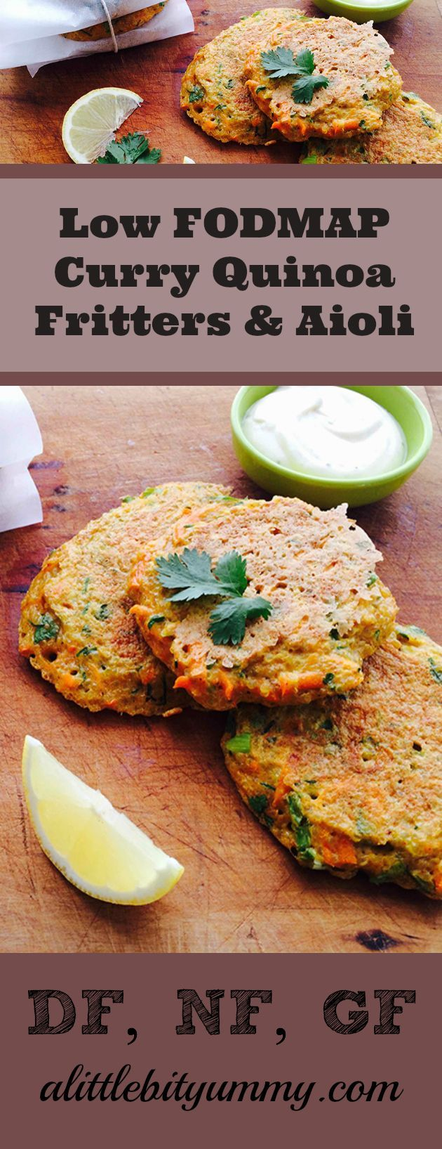 Curry Quinoa Fritters with Low FODMAP Aioli! These delicious fritters are perfect with a side salad and are Low Gluten, DF and Nut Free! Enjoy the recipe here: https://www.alittlebityummy.com/recipe/curry-quinoa-fritters-with-low-fodmap-aioli