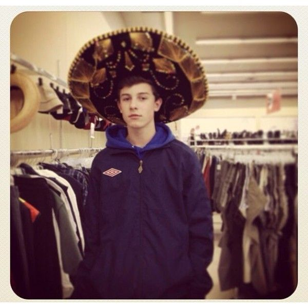 Shawn Mendes in a sombrero ❤ liked on Polyvore featuring magcon, shawn and shawn mendes