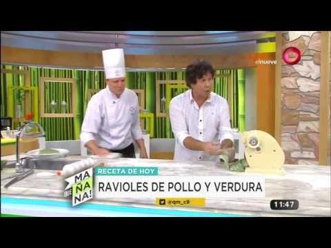 Receta de hoy: ravioles pollo y verdura con salsa 4 quesos y cibolullette - YouTube