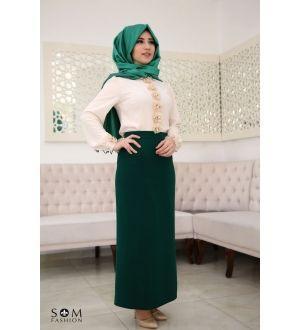 Som Fashion Yeşil Kalem Etek
