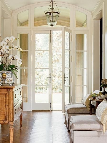 White large entry door, custom white millwork