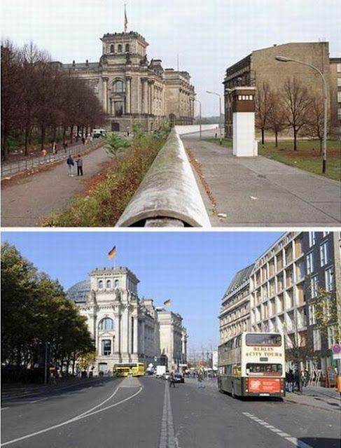 Berlin Wall, then and now. Look how industrial and depressing East Germany was even in this tiny snapshot, and how baroque and grand the West was.