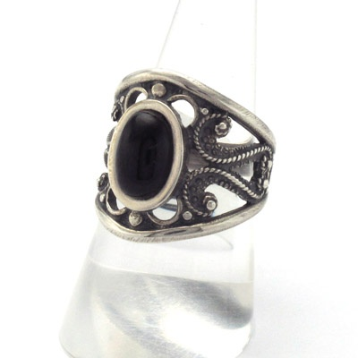 Silver and jet ring. Handmade in Galicia. Artcraft of The Way of Saint James. Tax free $48.90