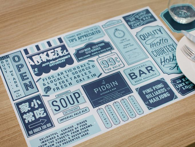Pidgin Kitchen & Bar menu
