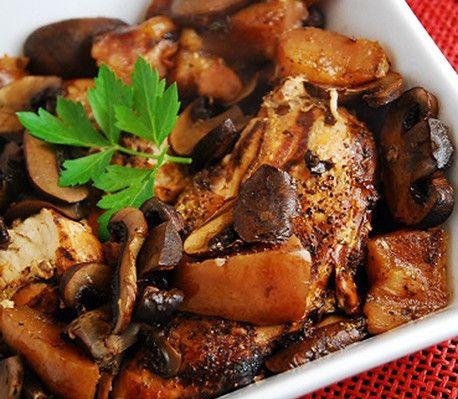 Nye smagsindtryk med pærer og svampe, der koges sammen med balsamico. Godt og kaloriefattigt!