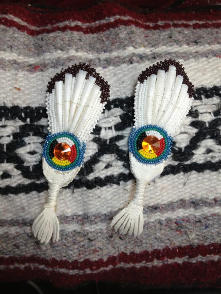 Fan Earrings Beaded With Dentallium I Wish I Knew Who