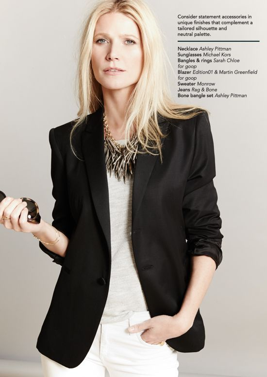black blazer with white t-shirt and jeans. love!