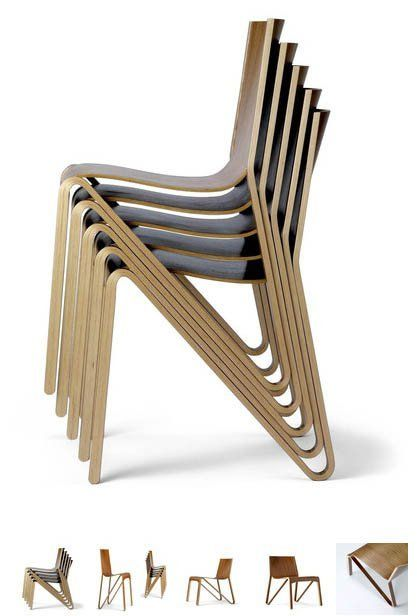 This just in. We got this chair from the design firm and thought it was particularly attractive and practical. Stacking chairs are RARELY this attractive. The Zesty Chair a brand new, all-plywood chair from Sweden designed by o4i. It's super light, stackable and totally utilizes molded plywood production...