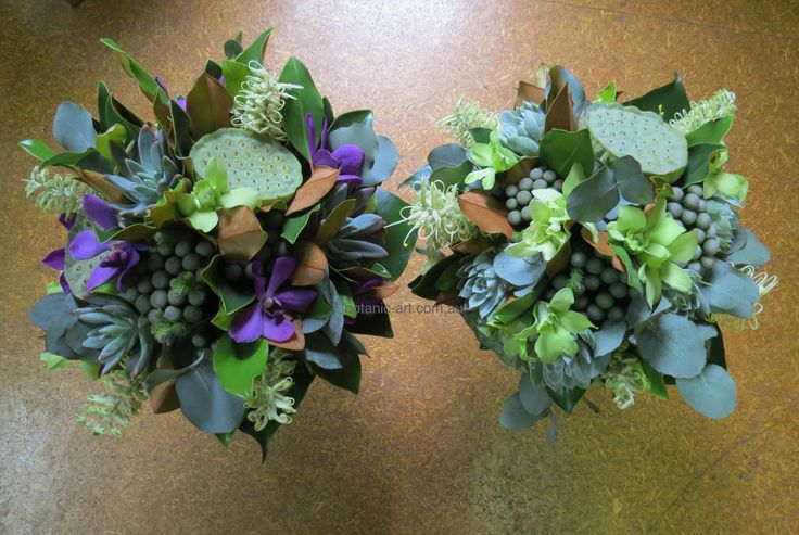 #lotus pods #orchids #berries #greenery #purple #wedding #bouquets #lush #rustic #native flowers #succulents