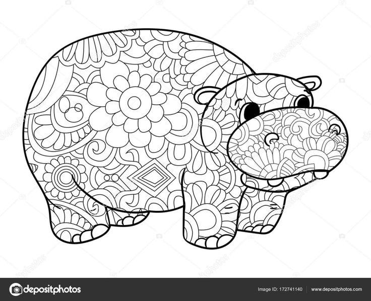nijlpaard kleurplaten vector voor volwassenen dier