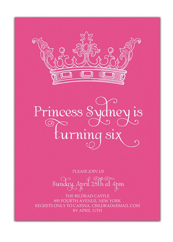 {Sydney} Princess Birthday Invitation Pink Crown by digibuddhaPaperie, $18.00  https://www.etsy.com/listing/89391719/princess-birthday-invitation-pink-crown?ref=v1_other_2: Birthday Parties, 1St Birthday, Princess Party, Princess Invitations, Princess Birthday Invitations, Party Ideas, Birthday Ideas