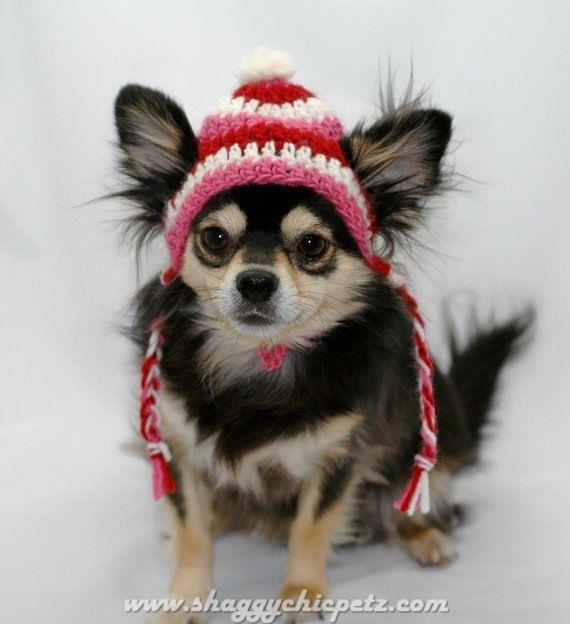 Chapeau chien au crochet, laine Valentin rouge, blanc et rose, Xsmall, Small, Medium