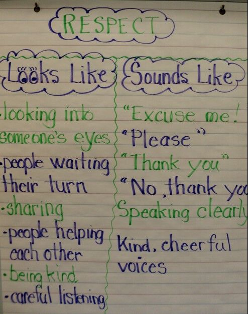 'Classroom Management' anchor chart. Great for teaching the kids the respectful behavior you expect in the classroom