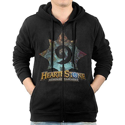 GHGH Mens Hearthstone Heroes Of Warcraft Full Zip Hoodie Jackets Black Size XXL >>> Want additional info? Click on the image.