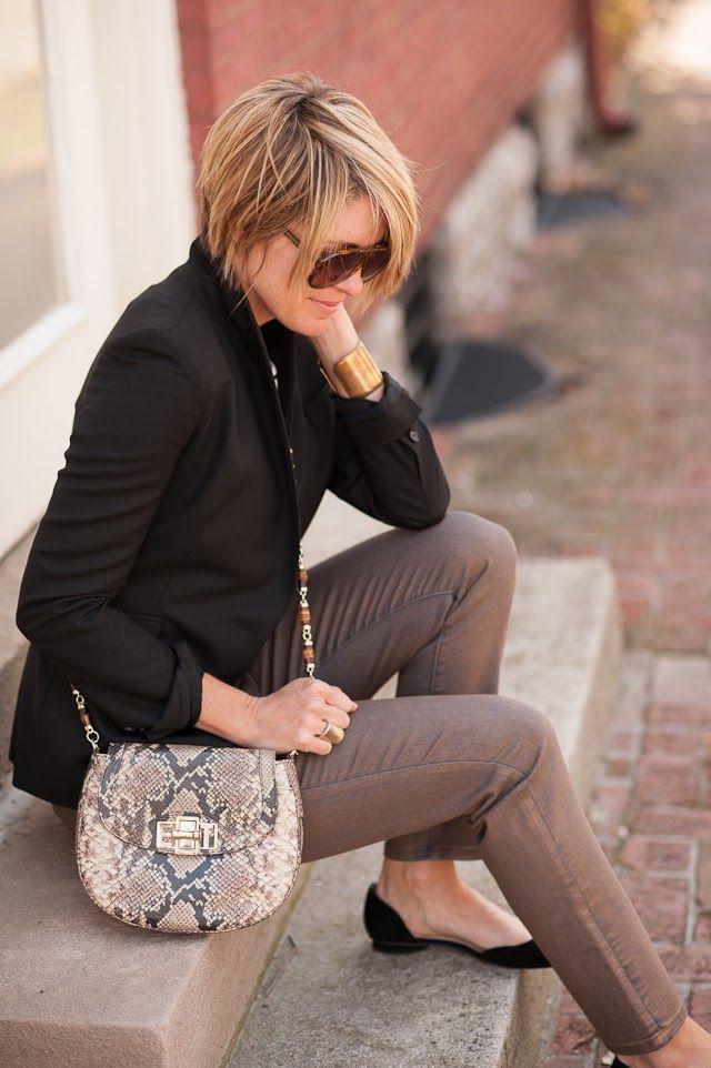 black blazer, black/white striped shirt, tan pants, black flats