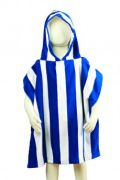 - Kids Poncho Towel – Royal Blue - $19.95 - Very soft Velour kids poncho towel - 100% cotton - With a bright royal blue stripe pattern - Great for sun protection, keeping the arms, legs and head covered - Suits children age 3-8 - www.heavenswim.com.au