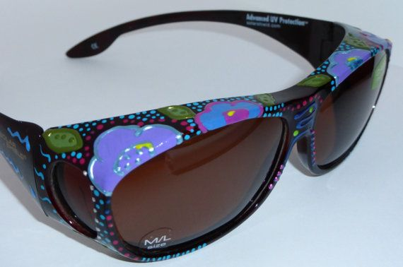 "Hand Painted Fit overs Sunglasses  that fit over your glasses "" Fabulous Floral"" custom made especially 4 you."