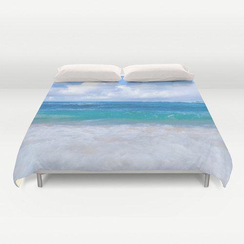 Hawaiian ocean Duvet Cover, Water Bedding, wave blue aqua, beach duvet cover, sea, tropical bedding, turquoise bedding, teal, ocean bedding