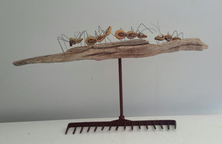 Ants on a Rake     piano hammers  wood  wire  found object