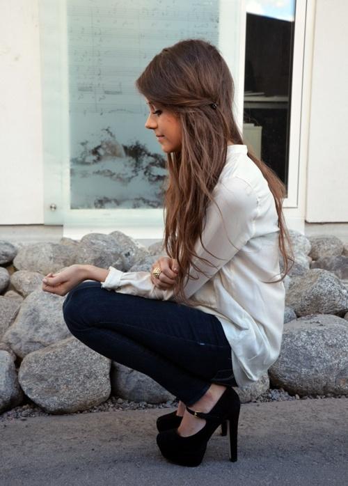 want your hair: Shoes, Hair Colors, Long Hair, Outfit, Longhair, Cute Hair, Black Heels, Brown Hair, Mary Jane